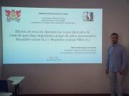 Pedro Toledo apresentando seu trabalho de conclusão de curso.